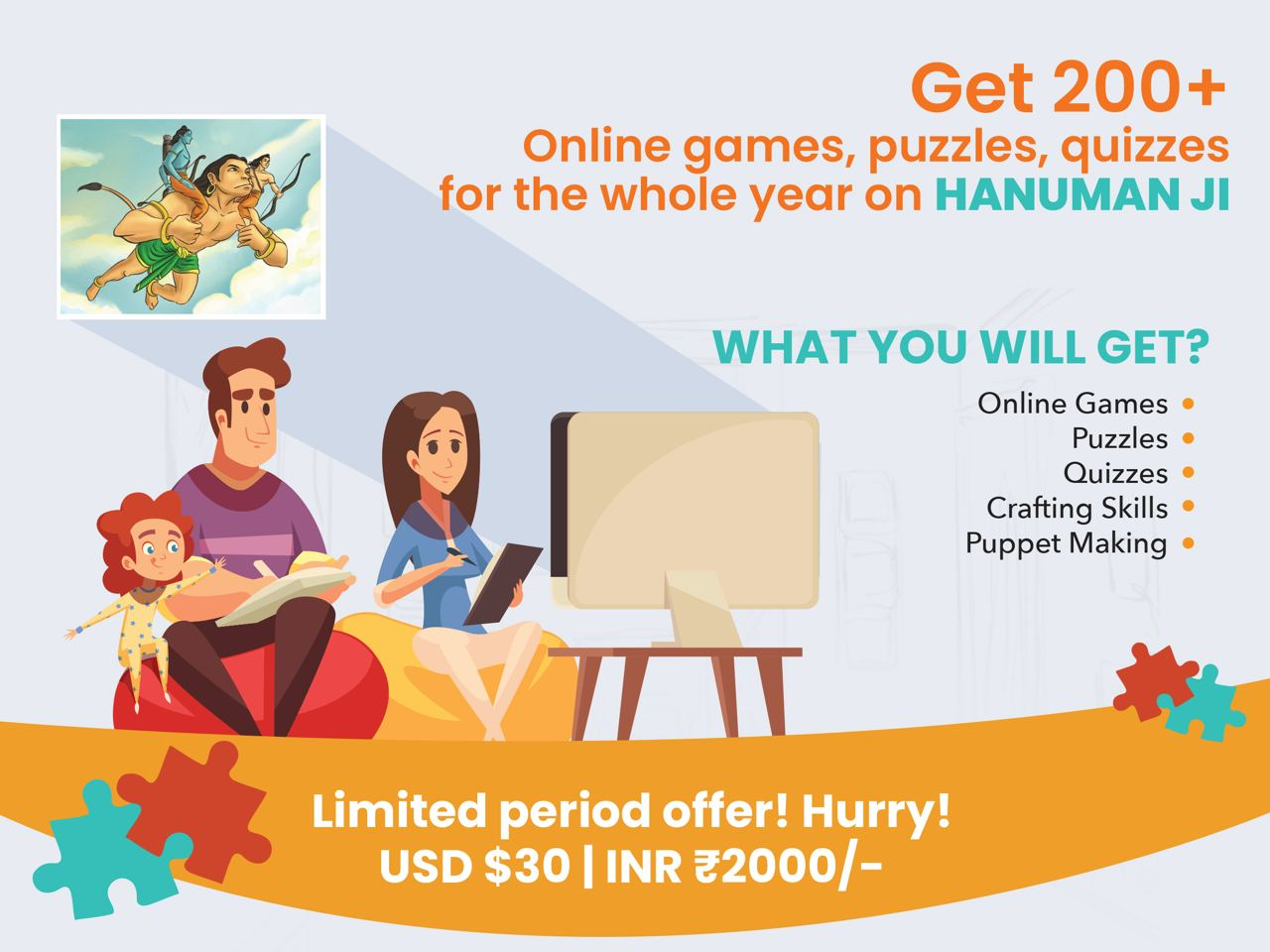 200+ Online Games, Puzzles, Quizzes for the whole year on Hanuman ji
